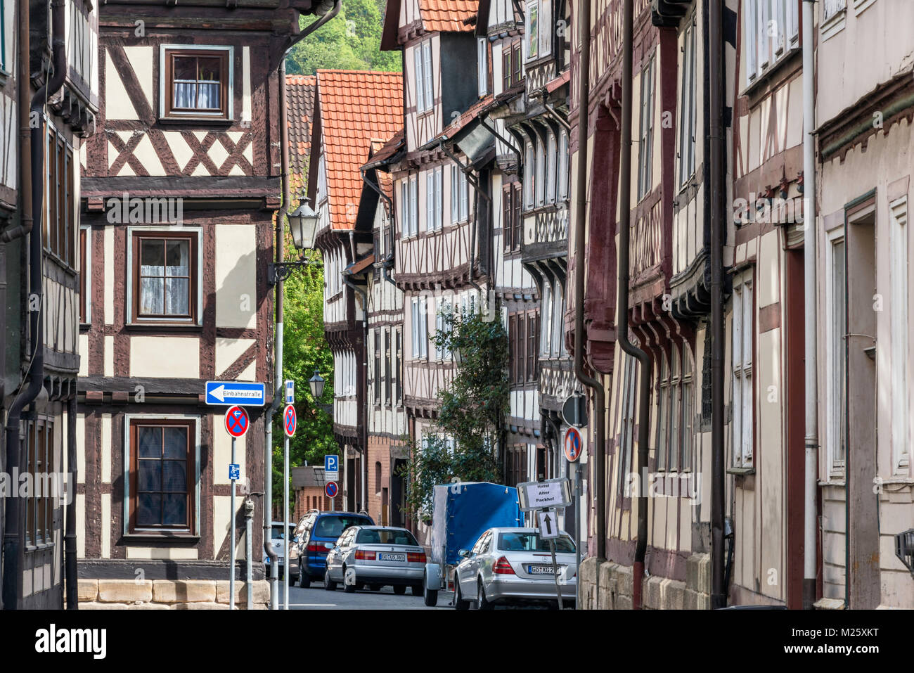 Half-timbered houses at Hinter der Stadtmauer, street in Hann Munden, Lower Saxony, Germany Stock Photo