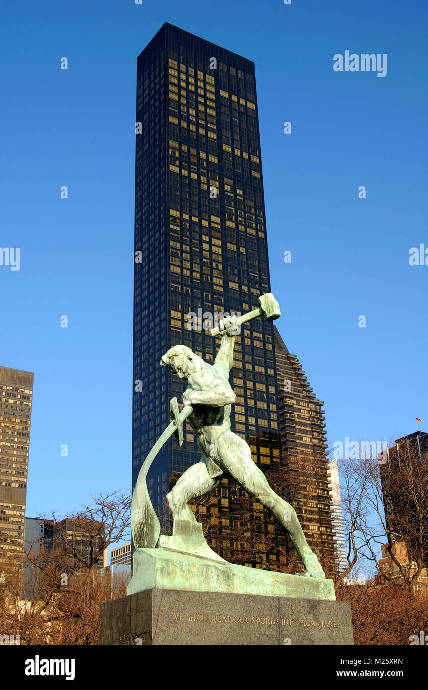 Bronze statue Let Us Beat Swords into Ploughshares, United Nations, UN garden, Trump World Tower behind, New York, - Stock Image