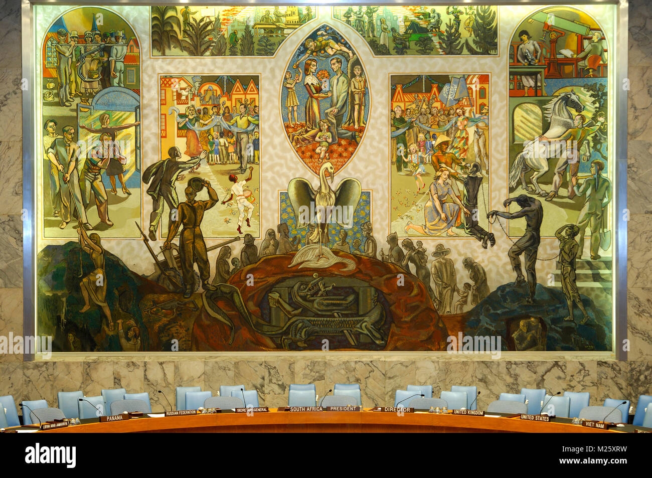 Oil canvas mural painted by the Norwegian artist Per Krogh, Security Council Chamber, United Nations, New York, - Stock Image