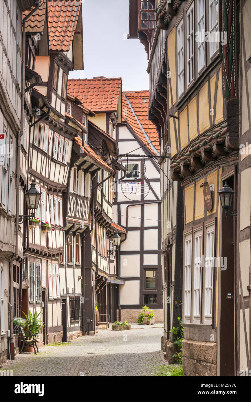 Half-timbered houses at Sydekumstrasse in Hann Munden, Lower Saxony, Germany Stock Photo