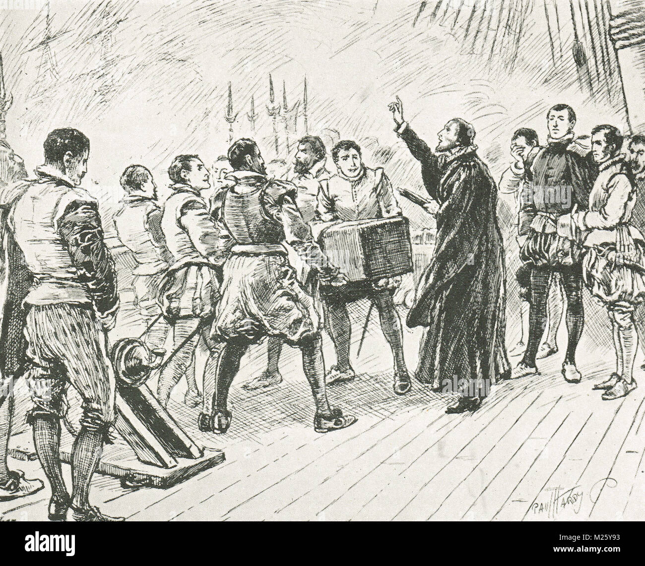 Funeral of Francis Drake, January 1596.  Buried at sea in a lead-lined coffin, near Portobelo, Panama - Stock Image