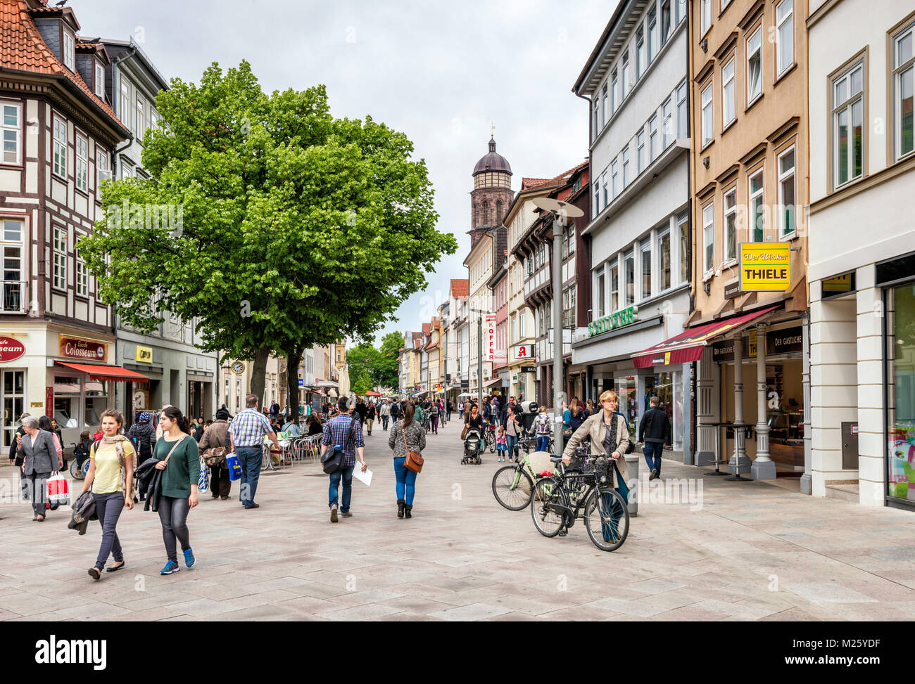 Weender Strasse pedestrian area in Old Town of Gottingen, Lower Saxony, Germany - Stock Image