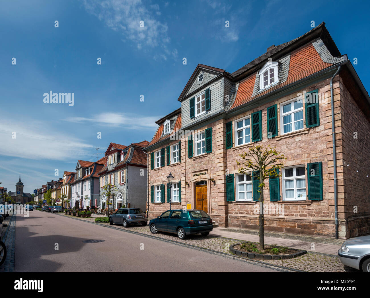 Schlossstrasse, main street in Bad Arolsen, Waldeck Region, Hessen, Germany - Stock Image