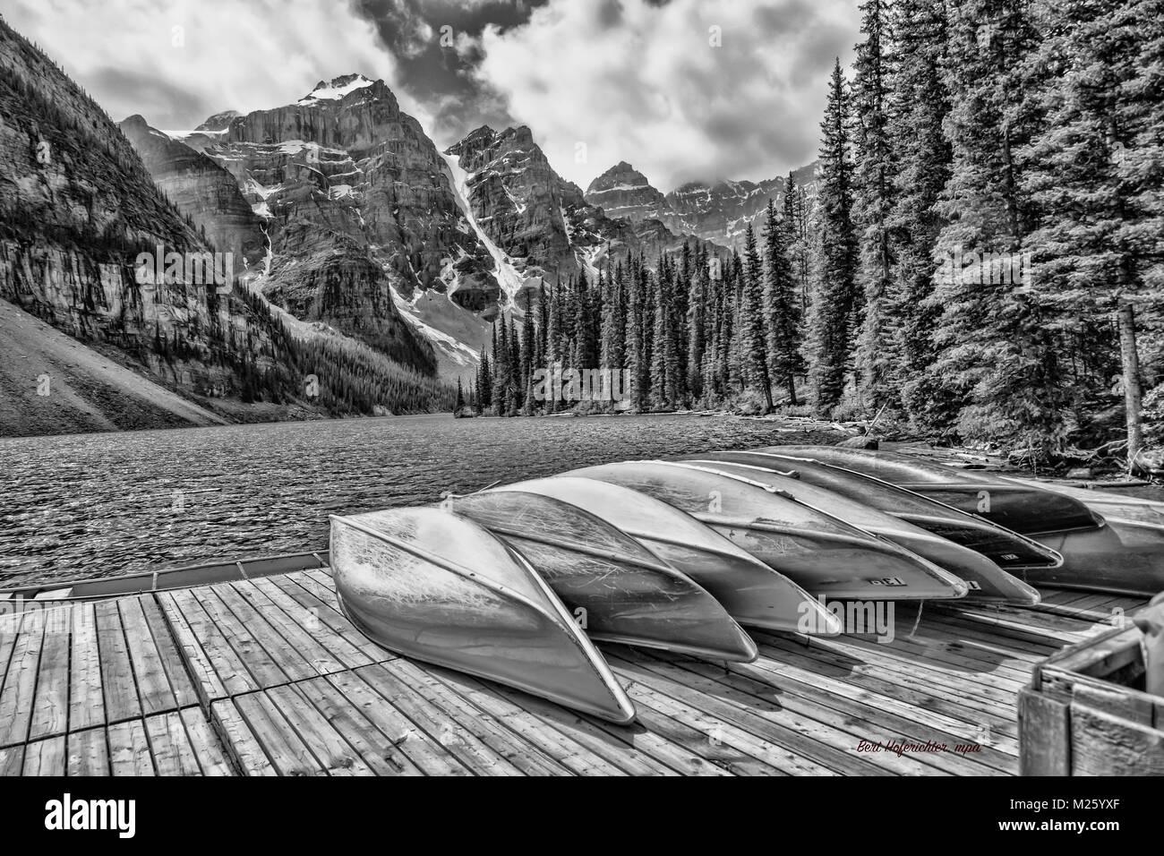 Black albertamoraine lake in the valley of the ten peaks in the canadian rockies and the banff national parkalbertacanada