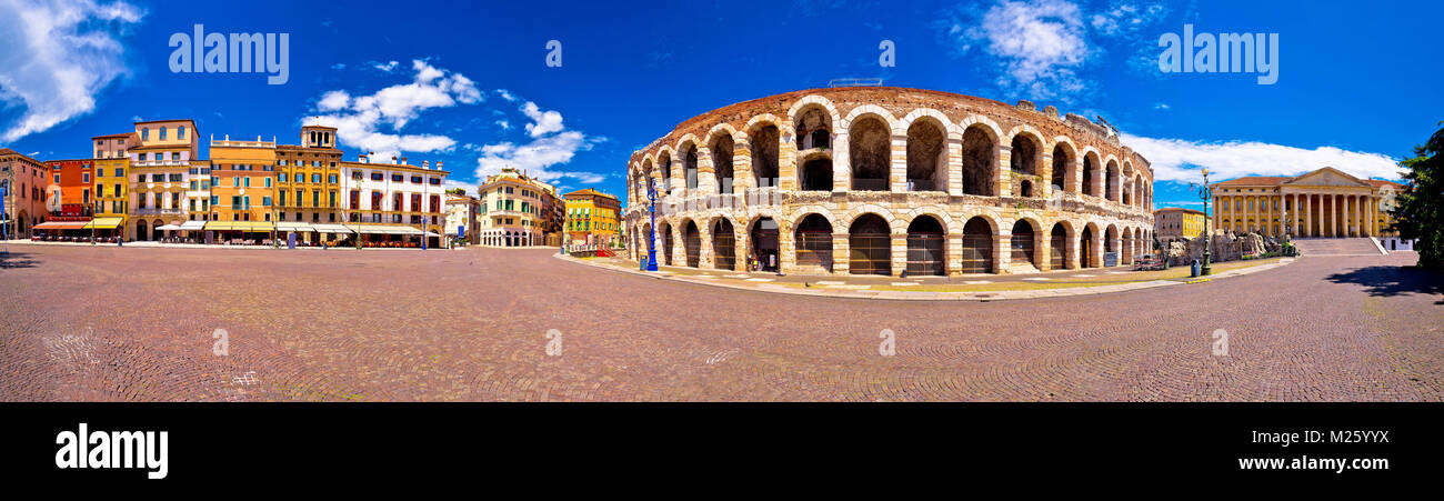 Roman amphitheatre Arena di Verona and Piazza Bra square panoramic view, landmark in Veneto region of Italy Stock Photo