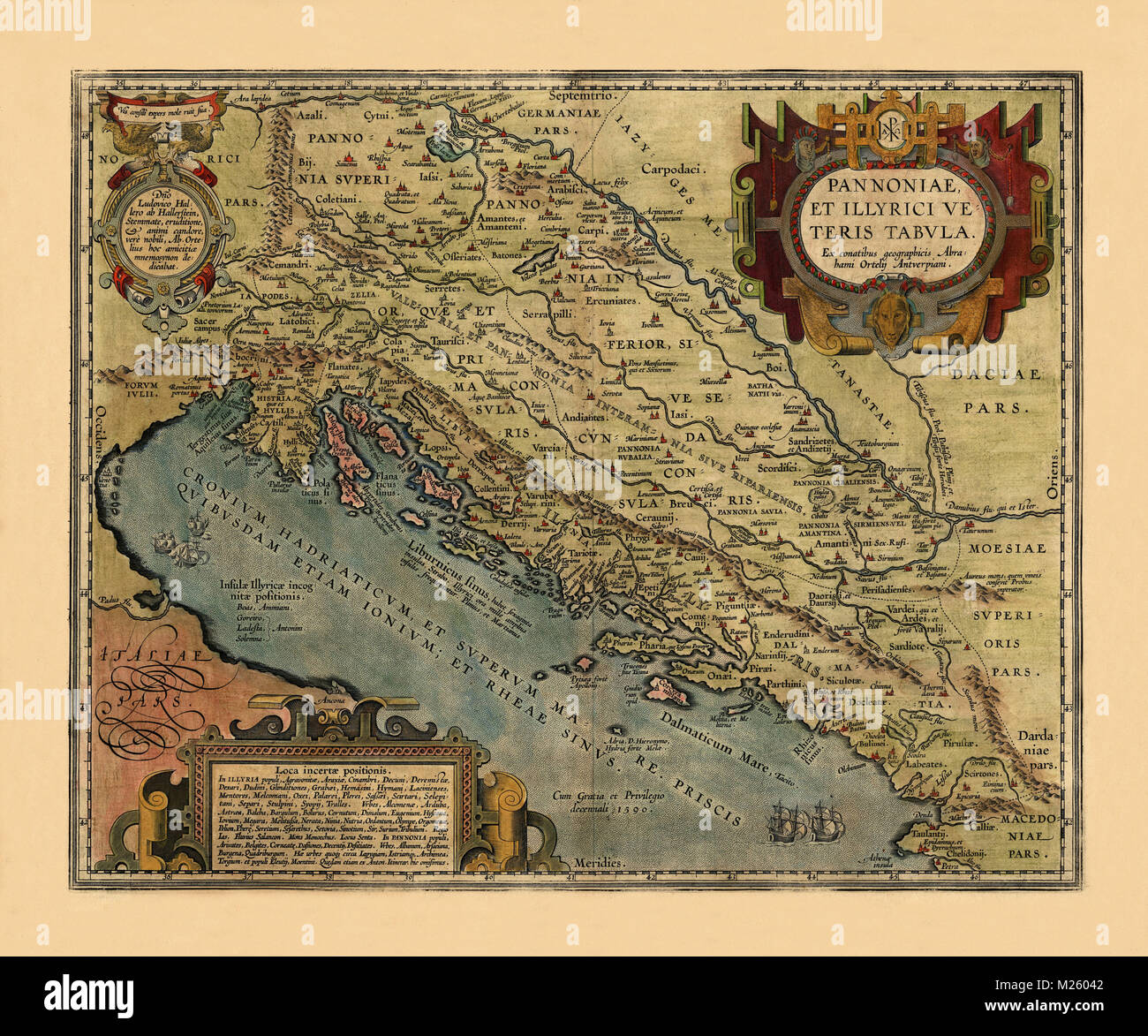 Historical map of the Adriatic Sea circa 1590. - Stock Image