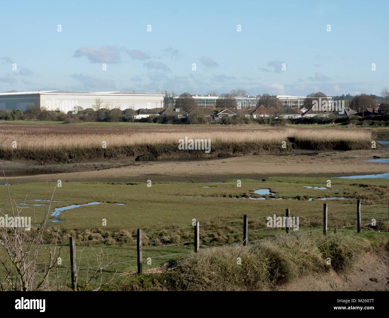 Lower Test Estuary, Southampton Water, Hampshire. Area of coastal and wetland habitats in a tidal estuary. UK Stock Photo