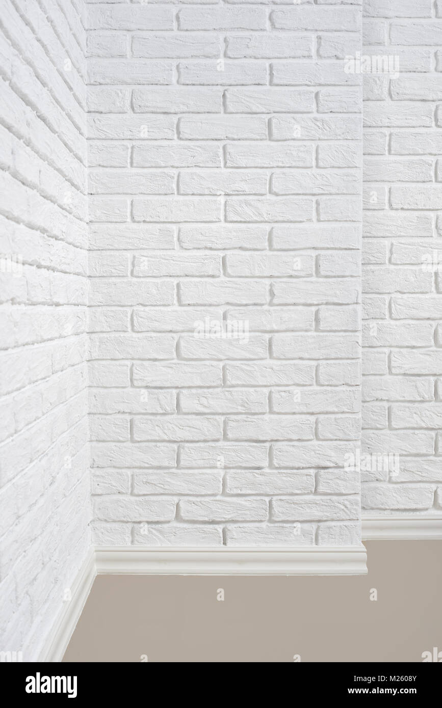The Corner Of The Room With White Brick Wall And Floor Abstract