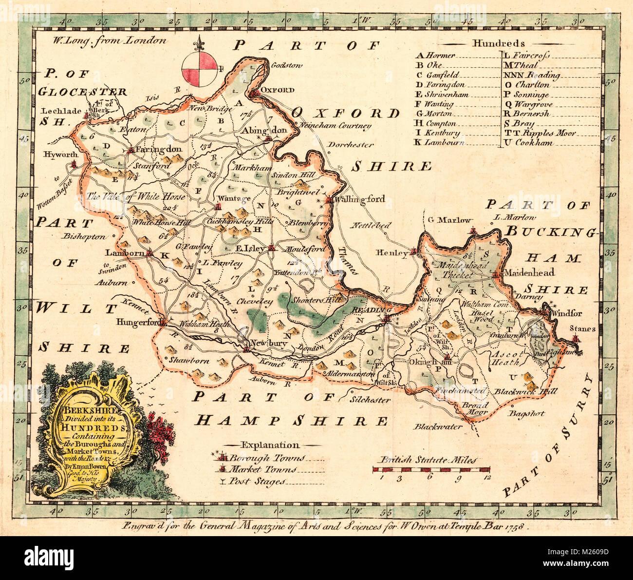Historical Map Of Berkshire England Circa 1758 Stock Photo