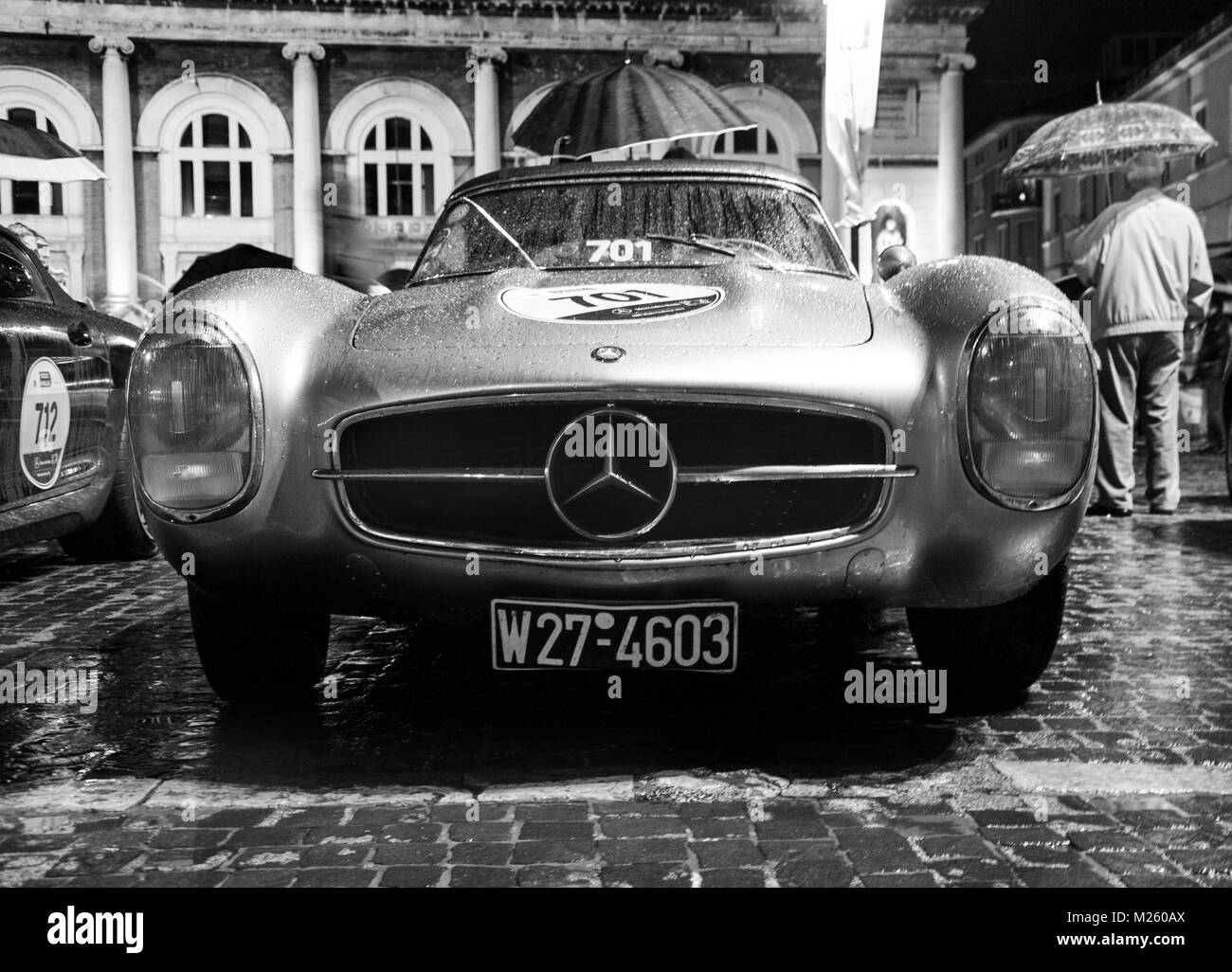 PESARO, ITALY - MAY 119 : MERCEDES 300 SL ROADSTER on an old racing car in rally Mille Miglia 2016 the famous italian - Stock Image