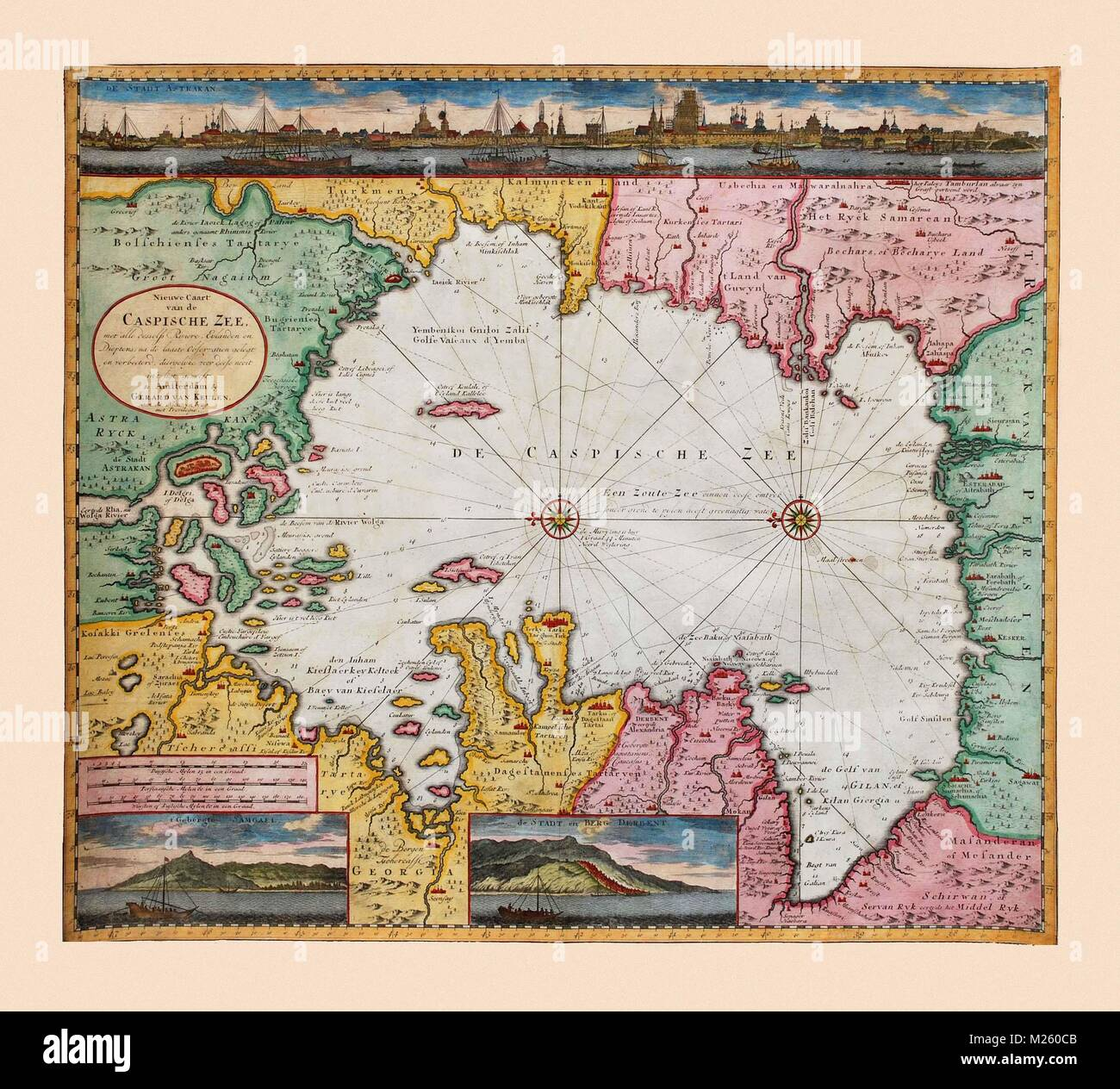 Historical map of the Caspian Sea circa 1720 Stock Photo ...