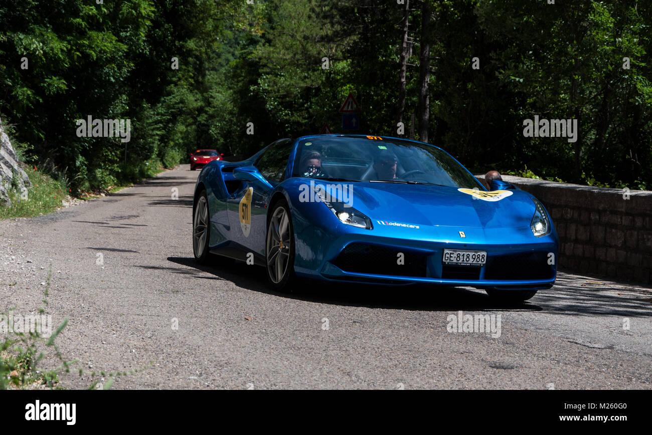 Gola Del Furlo Italy Ferrari 488 Spider 2015 On An Old Racing Car Stock Photo Alamy