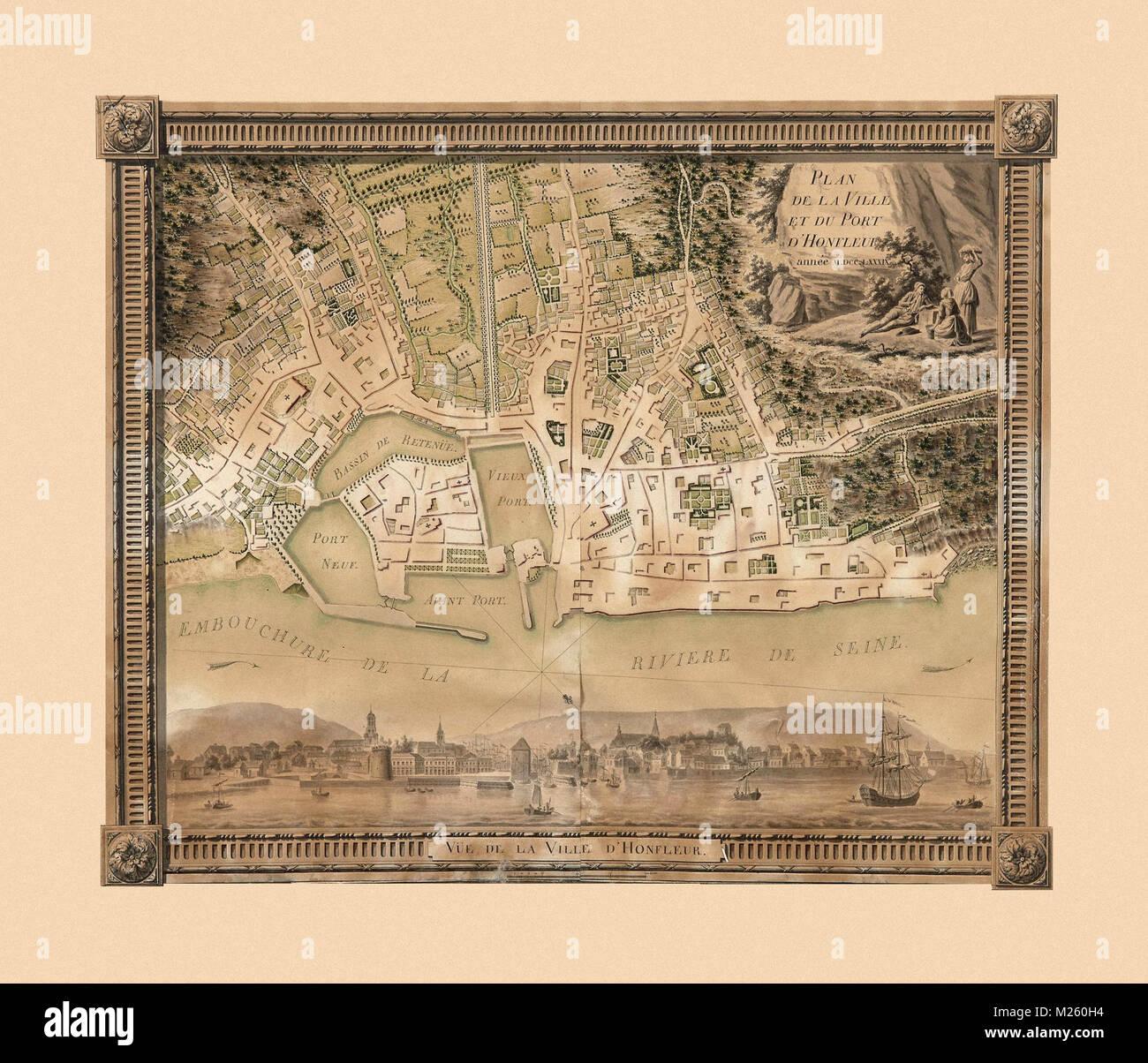 Antique Map Of Honfleur Stock Photos Antique Map Of Honfleur Stock
