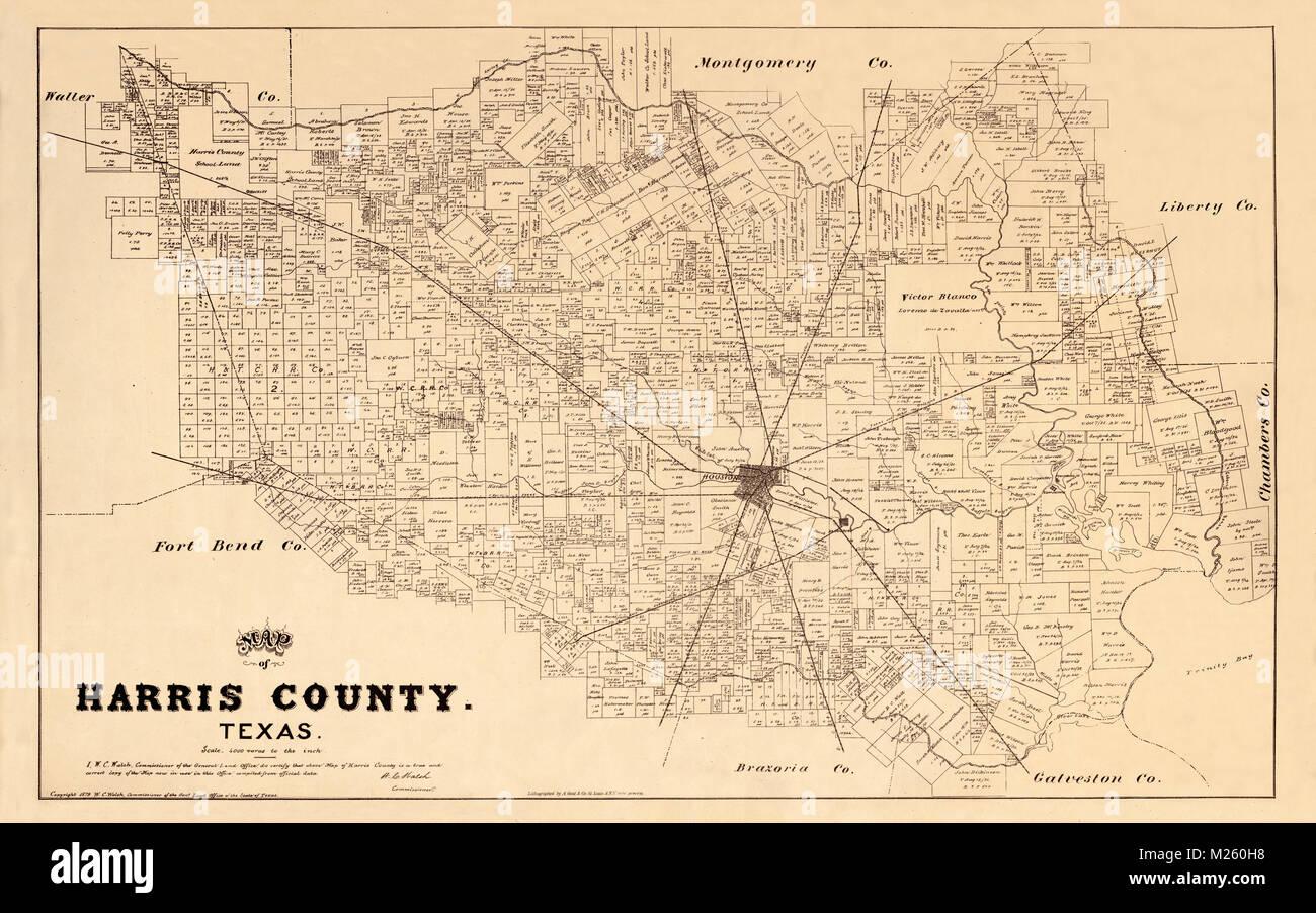 Antique Map Of Houston Stock Photos & Antique Map Of Houston Stock on