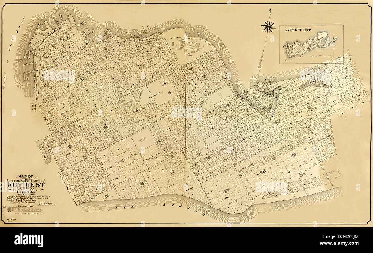Historical map of Key West Florida circa