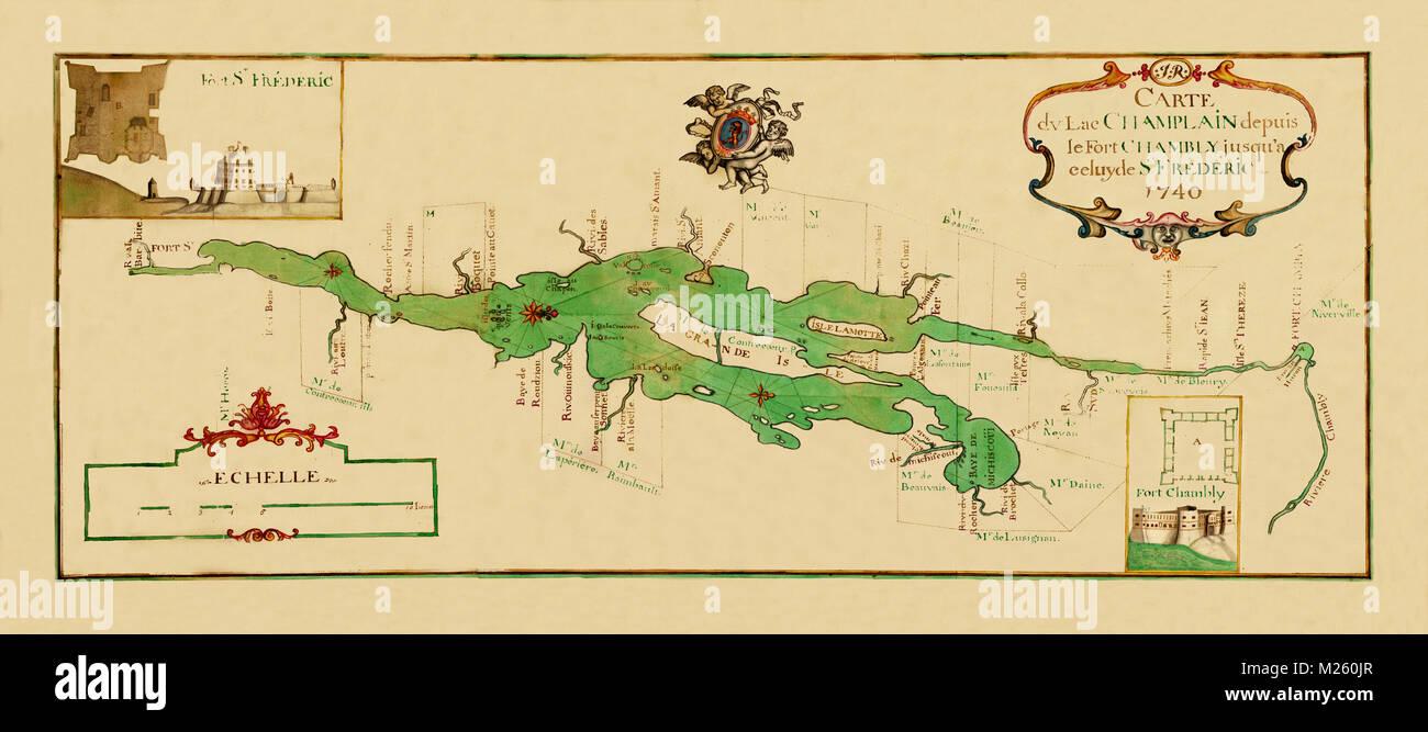 Historical map of Lake Champlain, New York circa 1740. - Stock Image