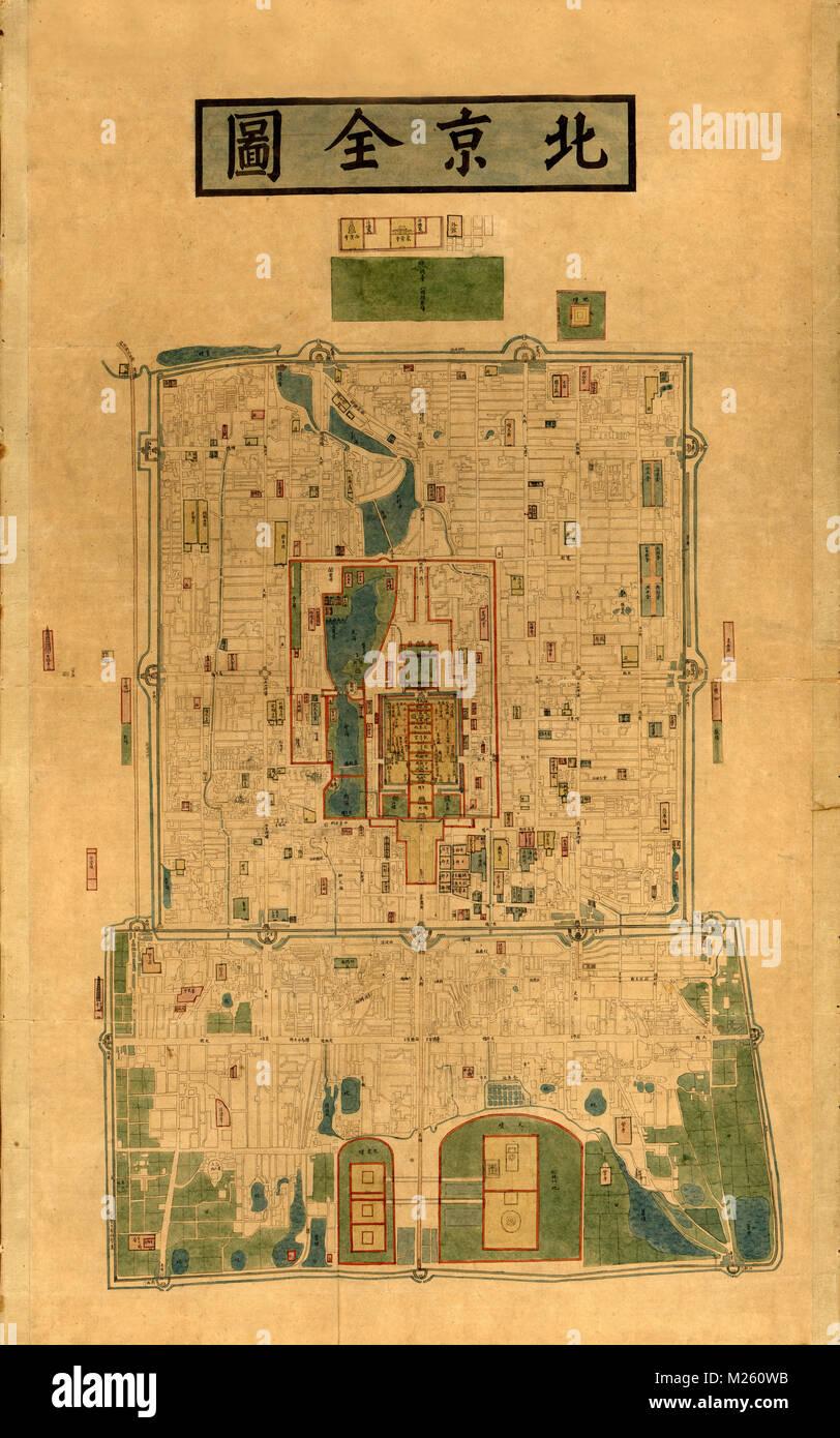 Historical map of Peking (Beijing) circa 1875. - Stock Image