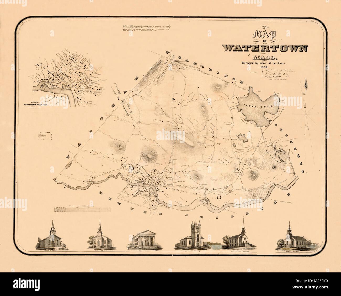 Historical map of Watertown, Massachusetts circa 1850 ...
