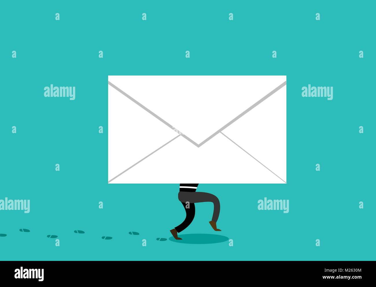 Thief hide in Phishing Mail to hacking, vector cartoon - Stock Vector