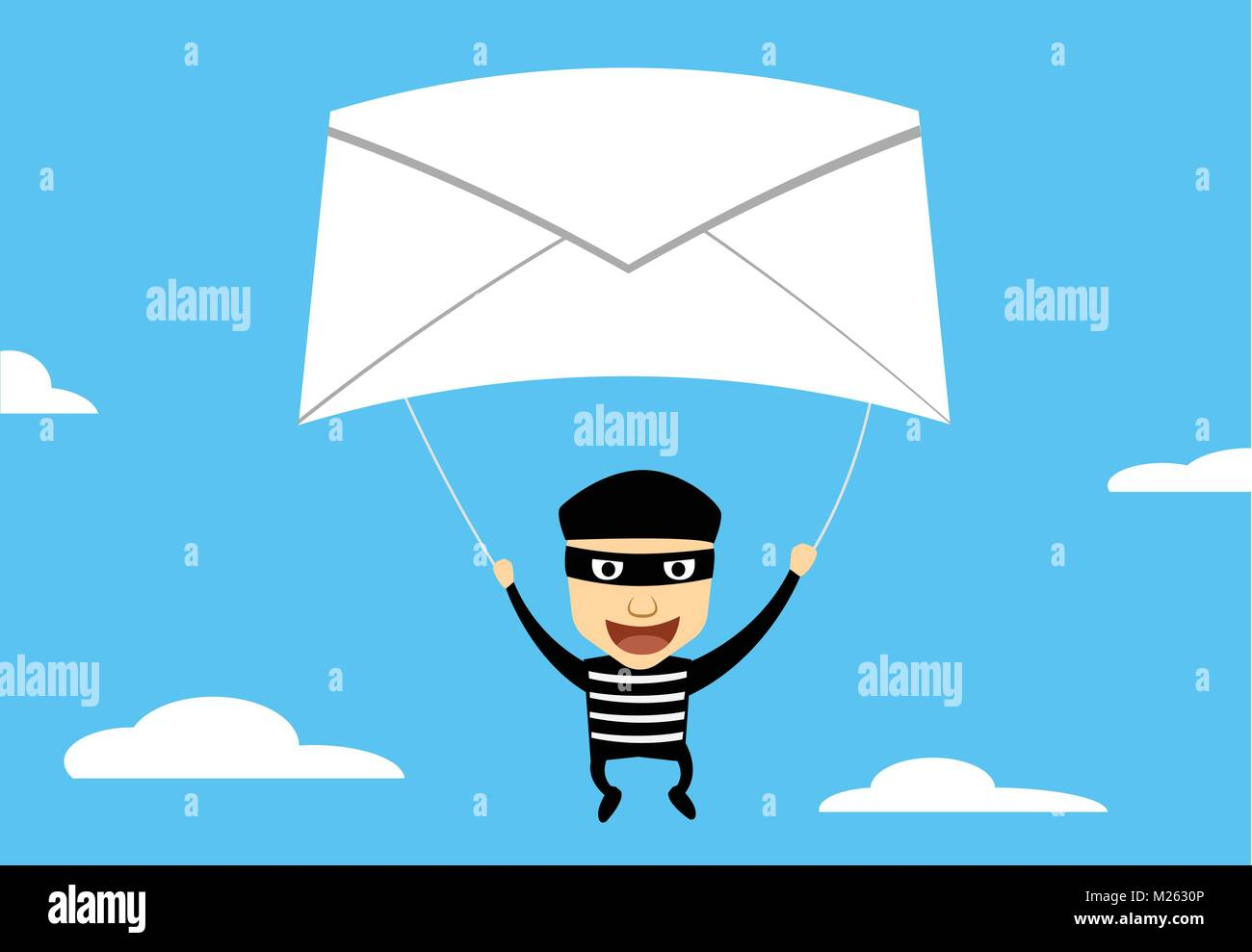 Theif use Phishing Mail to hacking, vector cartoon - Stock Vector