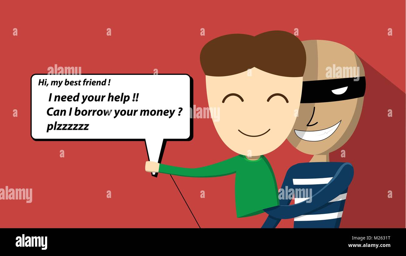 Scammer try to scam victim by chatting. vector art design - Stock Vector