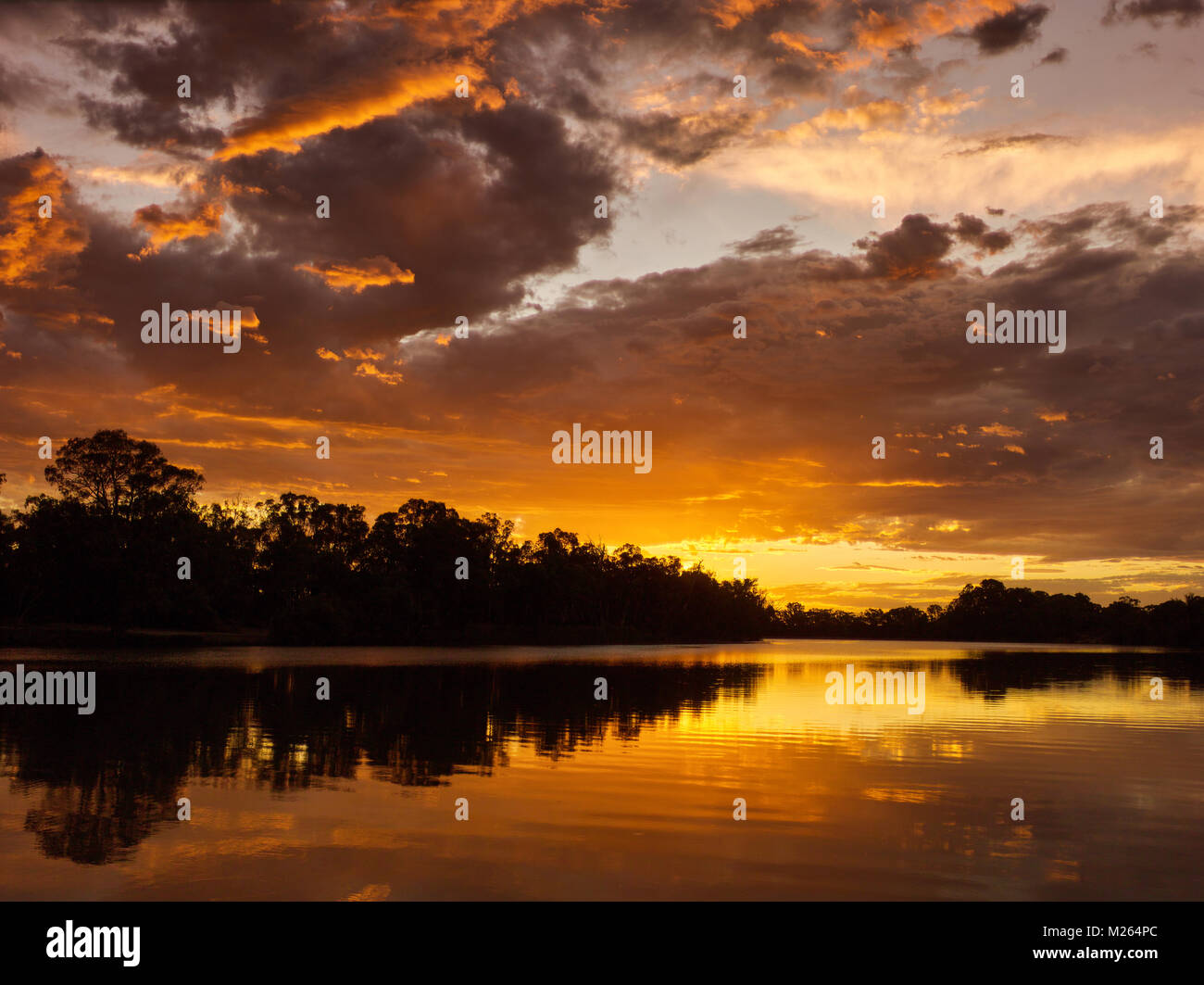 End of a hot dusty Summers day over the Murray River near Curlwaa, NSW, Australia. - Stock Image