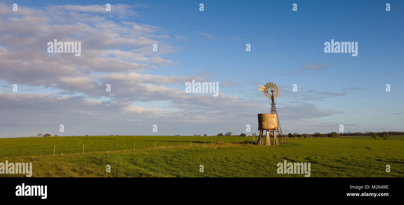 Southern Cross windmill and tnk standing in a paddock near the small rural town of Nhill. - Stock Image