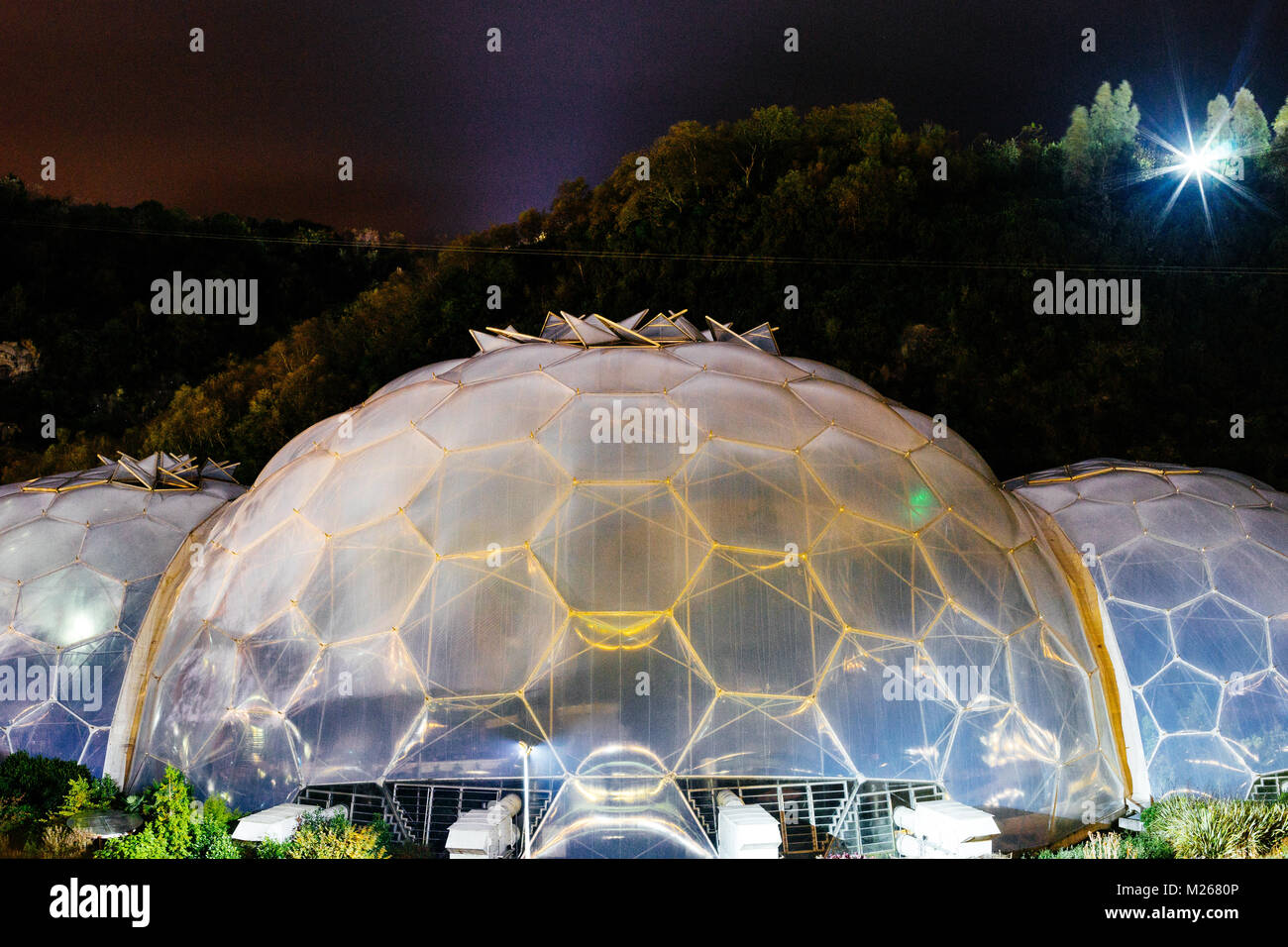 Exterior Shows Of The Eden Project Biomes At Night Bodelva Cornwall United Kingdom