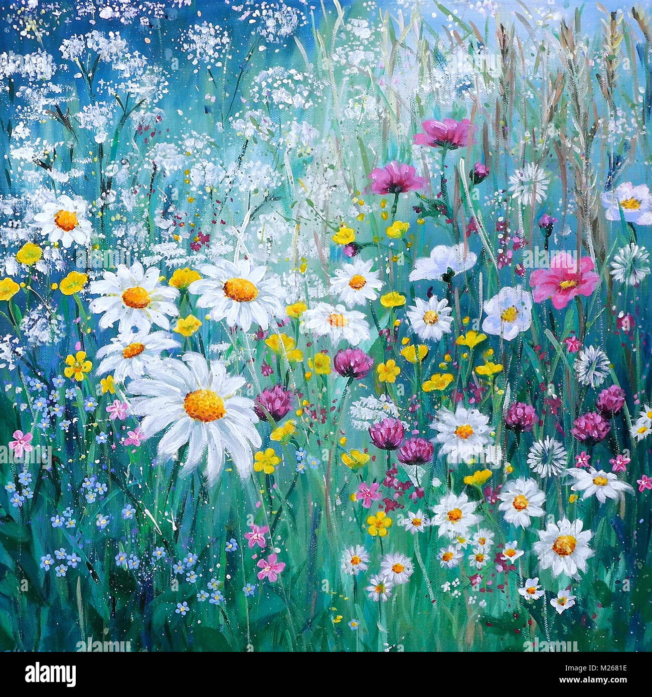 Painting Of Wildflower Meadow With Daisies Cow Parsley Clover And Stock Photo Alamy