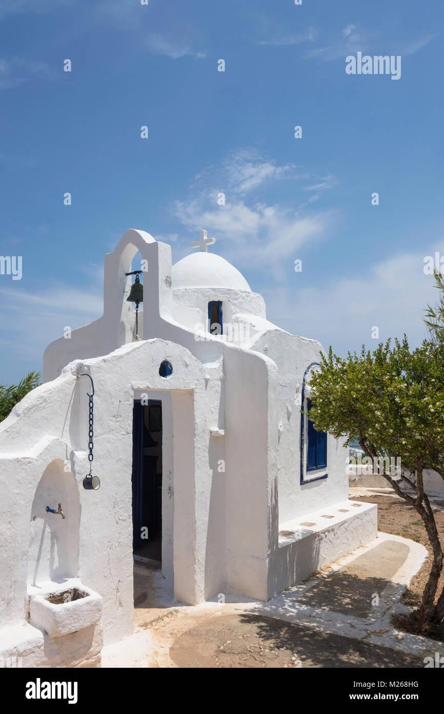 Whitewashed church at Lychnostatis Cretan Open Air Museum, Hersonissos, Heraklion Region, Crete (Kriti), Greece - Stock Image