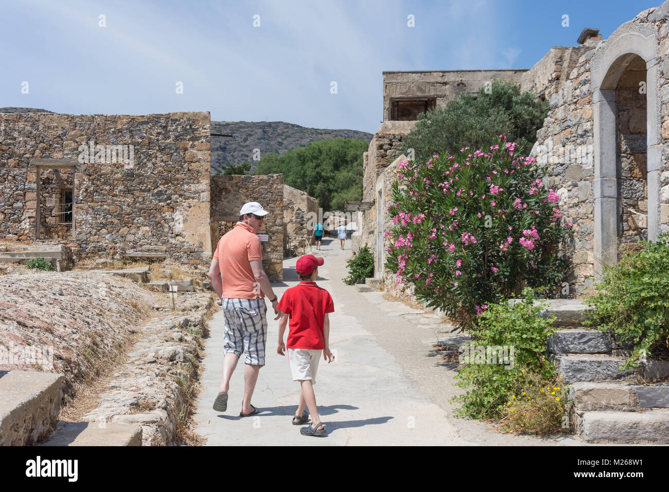 Former leper colony buildings on Spinalonga (Kalydon) Island, Elounda, Lasithi Region, Crete (Kriti), Greece - Stock Image
