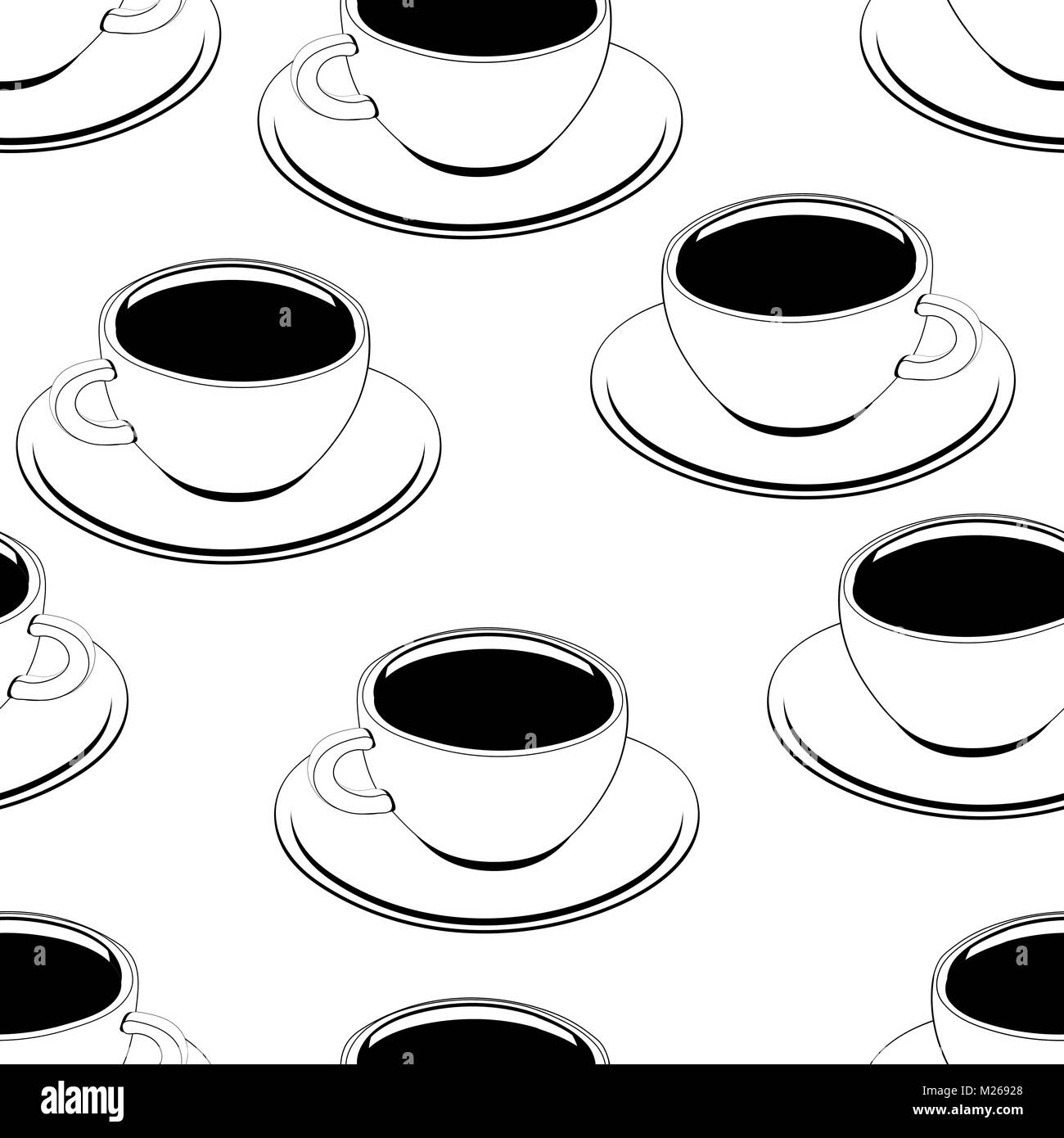 Cup of coffee outline seamless pattern, vector background, coloring, sketch, contour drawing. Drawn cups of black - Stock Vector