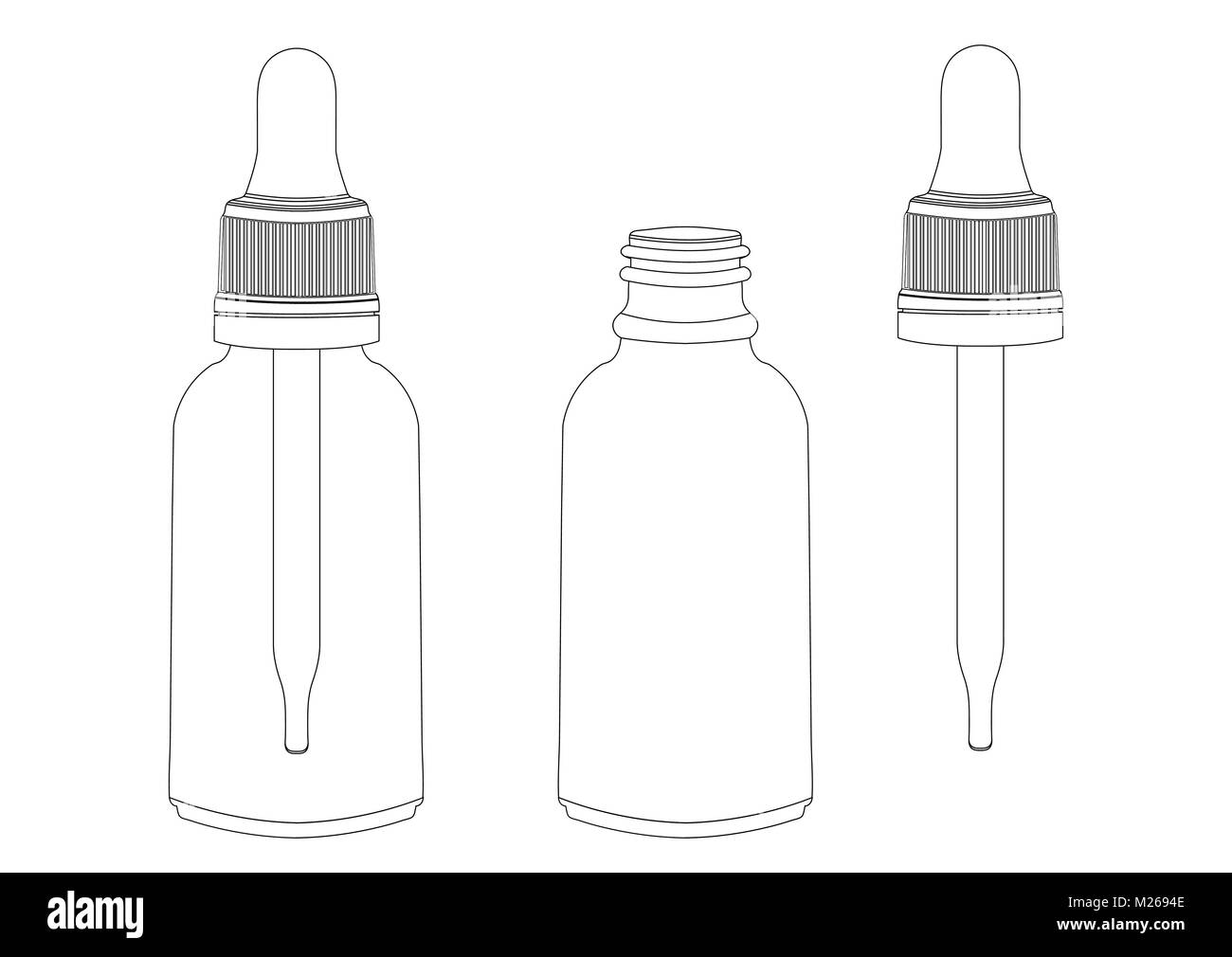 Bottle with a pipette, vector outline drawing, contour picture, coloring, black and white illustration. Transparent - Stock Image