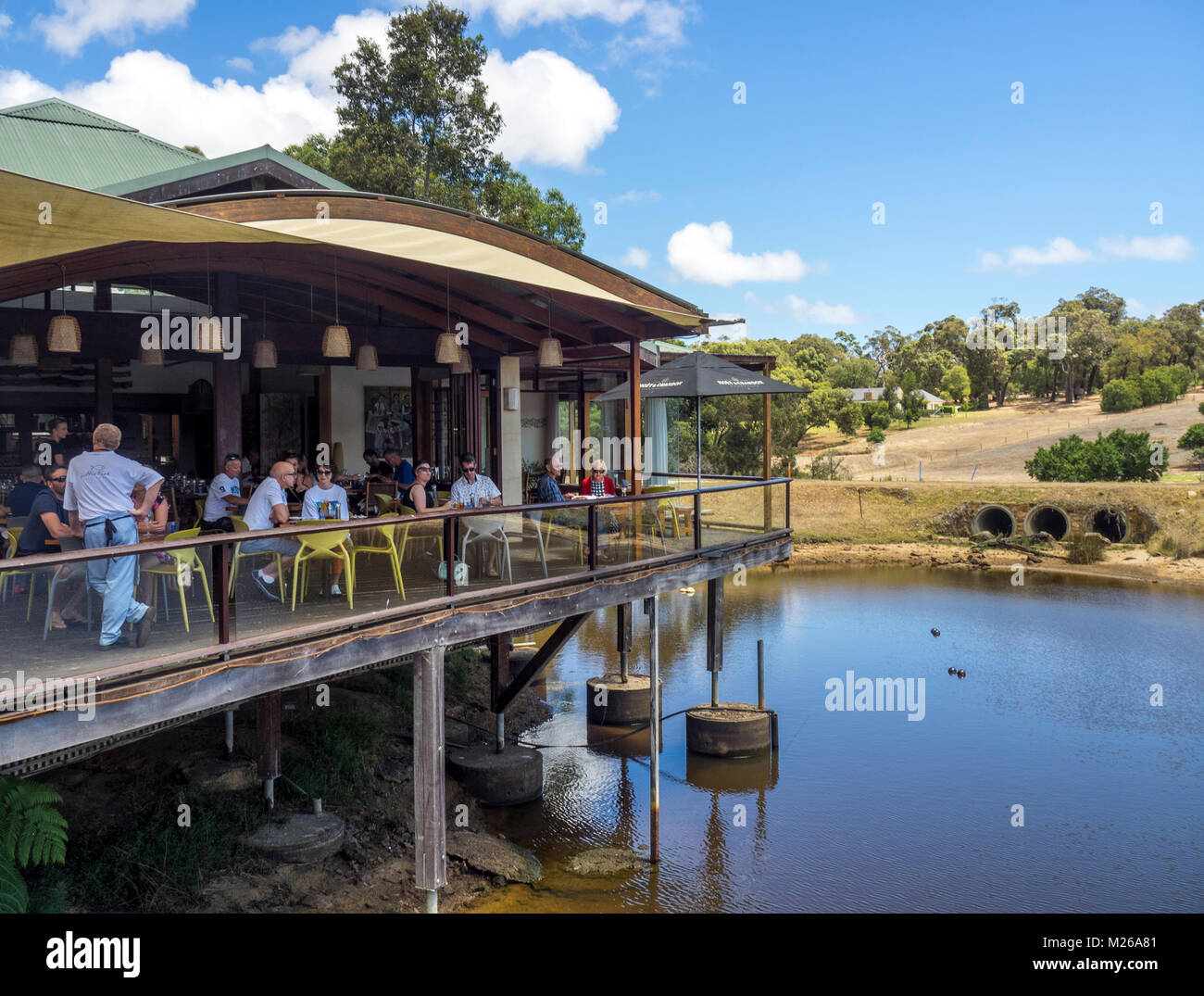 People dining at Little Fish restaurant in Yallingup, WA, Australia. - Stock Image