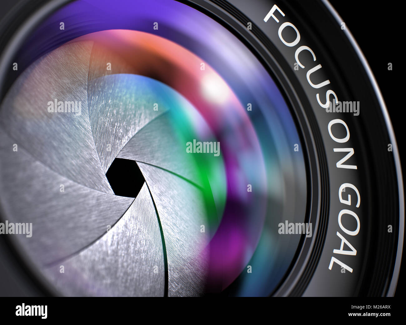 Front of Lens with Inscription Focus On Goal. 3d - Stock Image