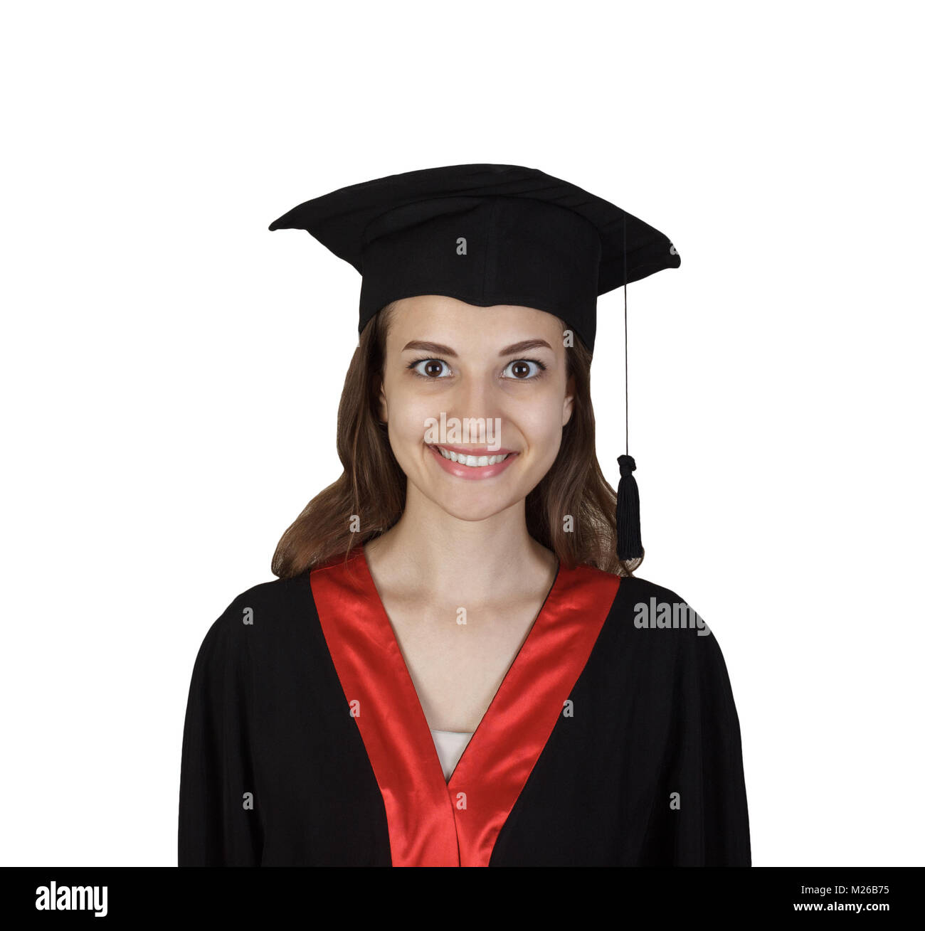 Young graduate girl student in mantle, isolated on white background. - Stock Image