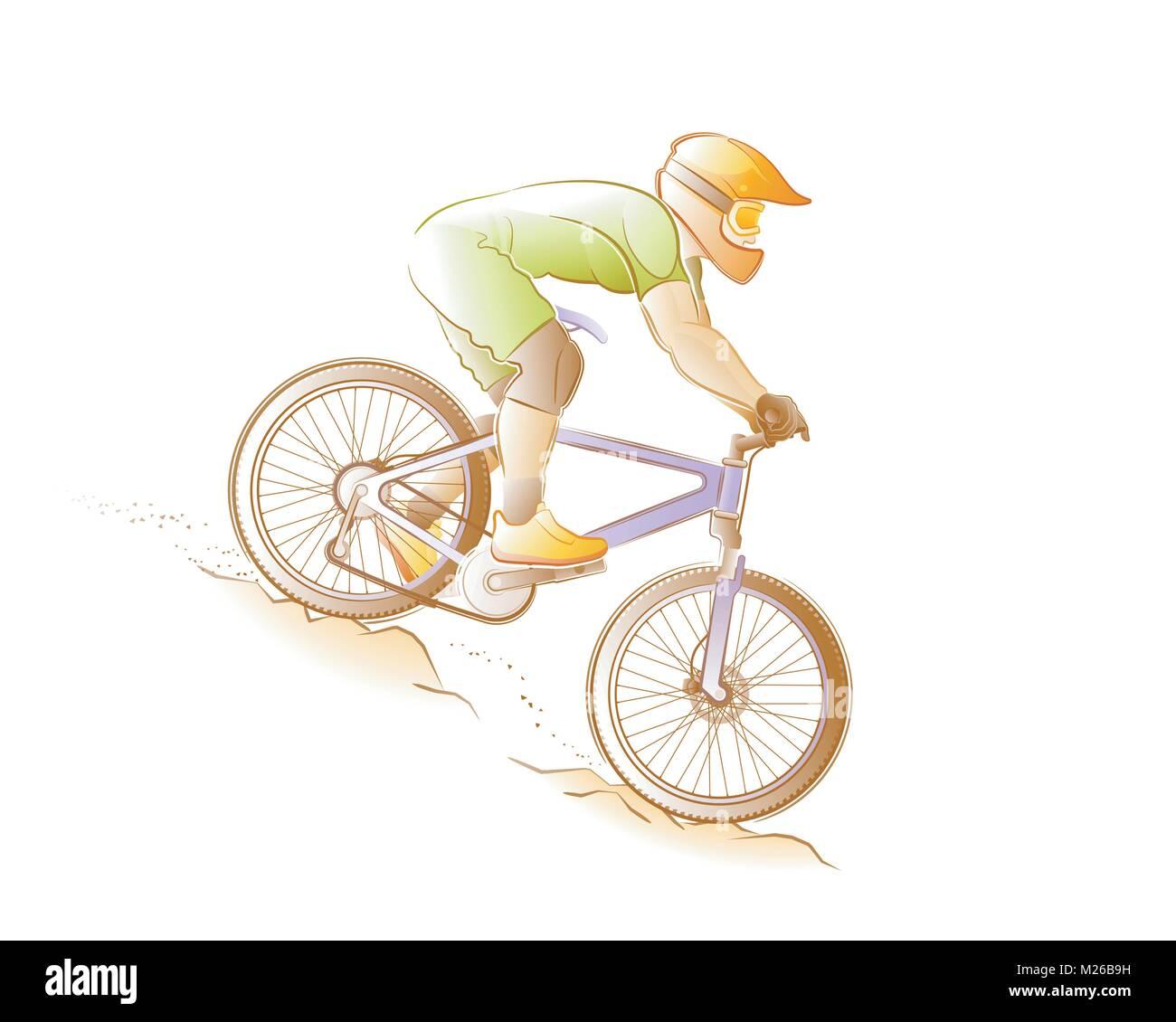 Mountain Biking - Stock Vector