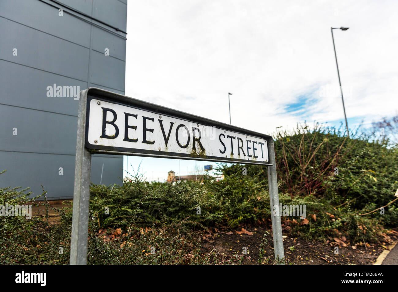 Beevor Street Lincoln City UK England, beaver, funny street names UK, amusing street name UK, funny street name - Stock Image
