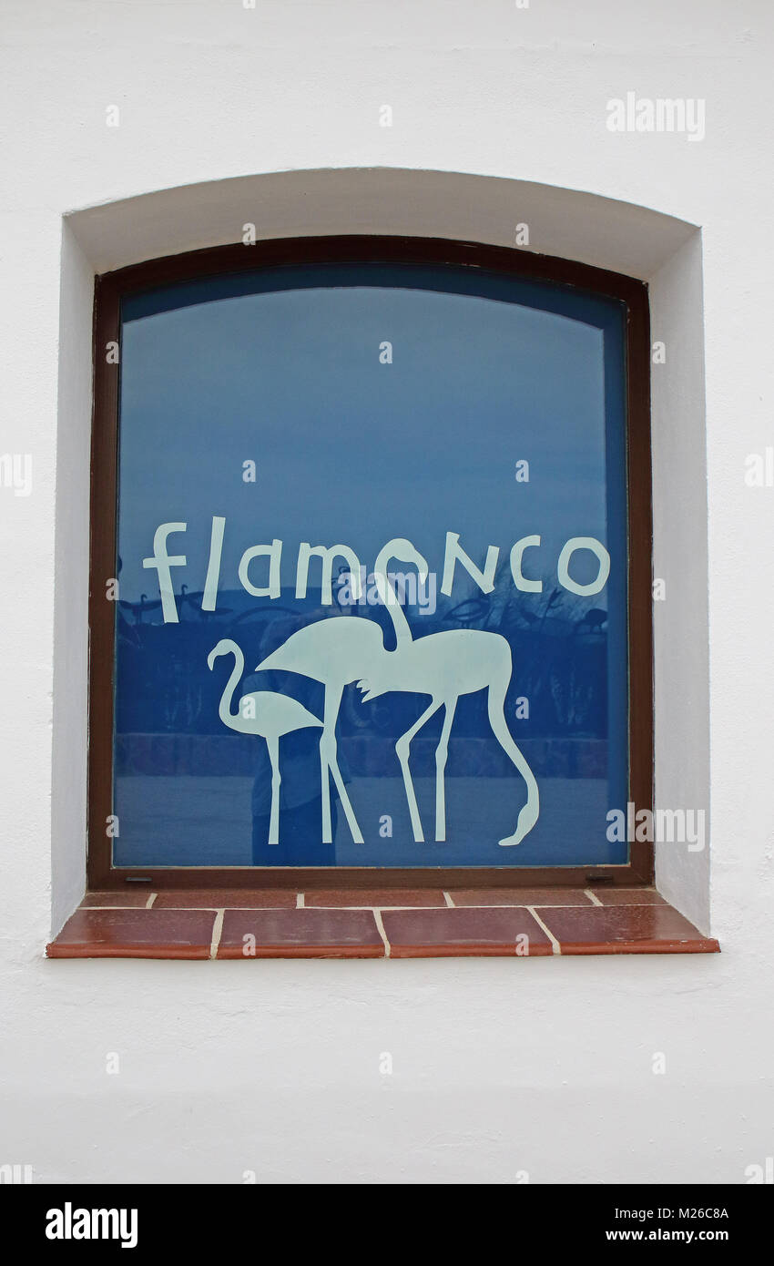 Flamingo window decoration at Jose Antonio Valverde visitor centre, Cerro del Palo  Laguna de Fuente de Piedra, - Stock Image