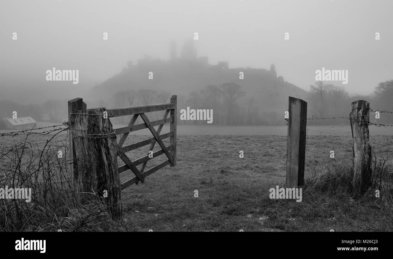 Corfe Castle in Dorset. - Stock Image