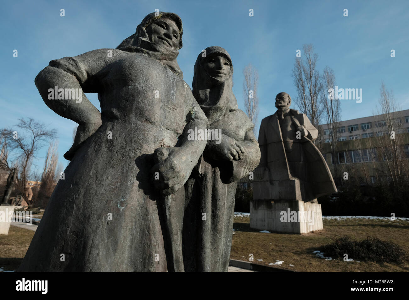 Soviet-era sculpture installations drawn from the communist period in front of the Museum of Socialist Art which - Stock Image