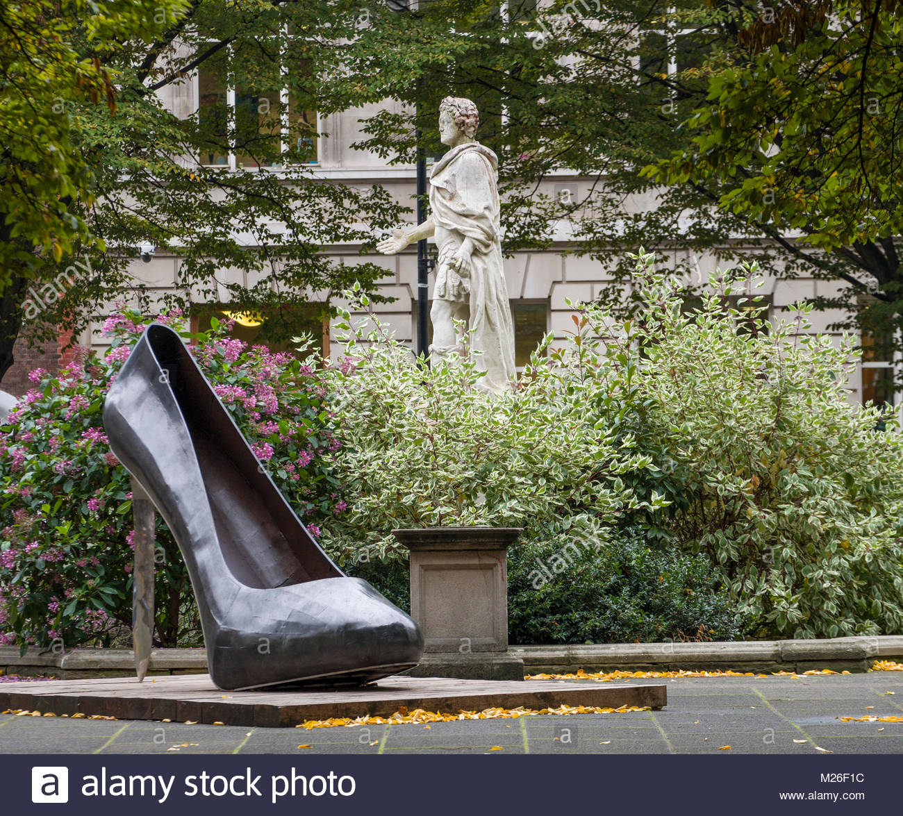 Stiletto Heel sculpture by Kalliopi Lemos in Golden Square, City of Westminster, London, England, United Kingdom - Stock Image
