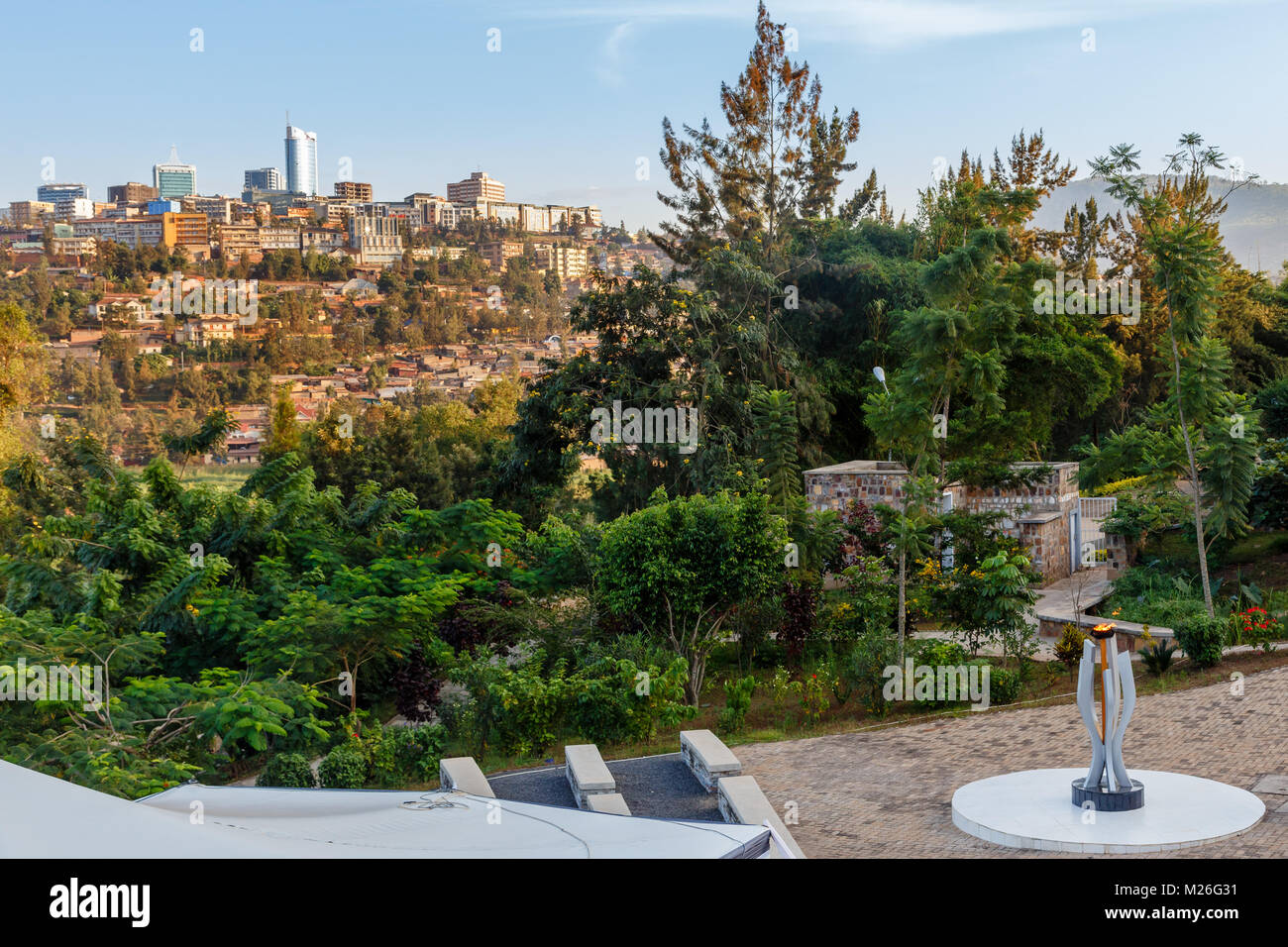 Genocide memorial and city bussiness district view of Kigali, Rwanda - Stock Image