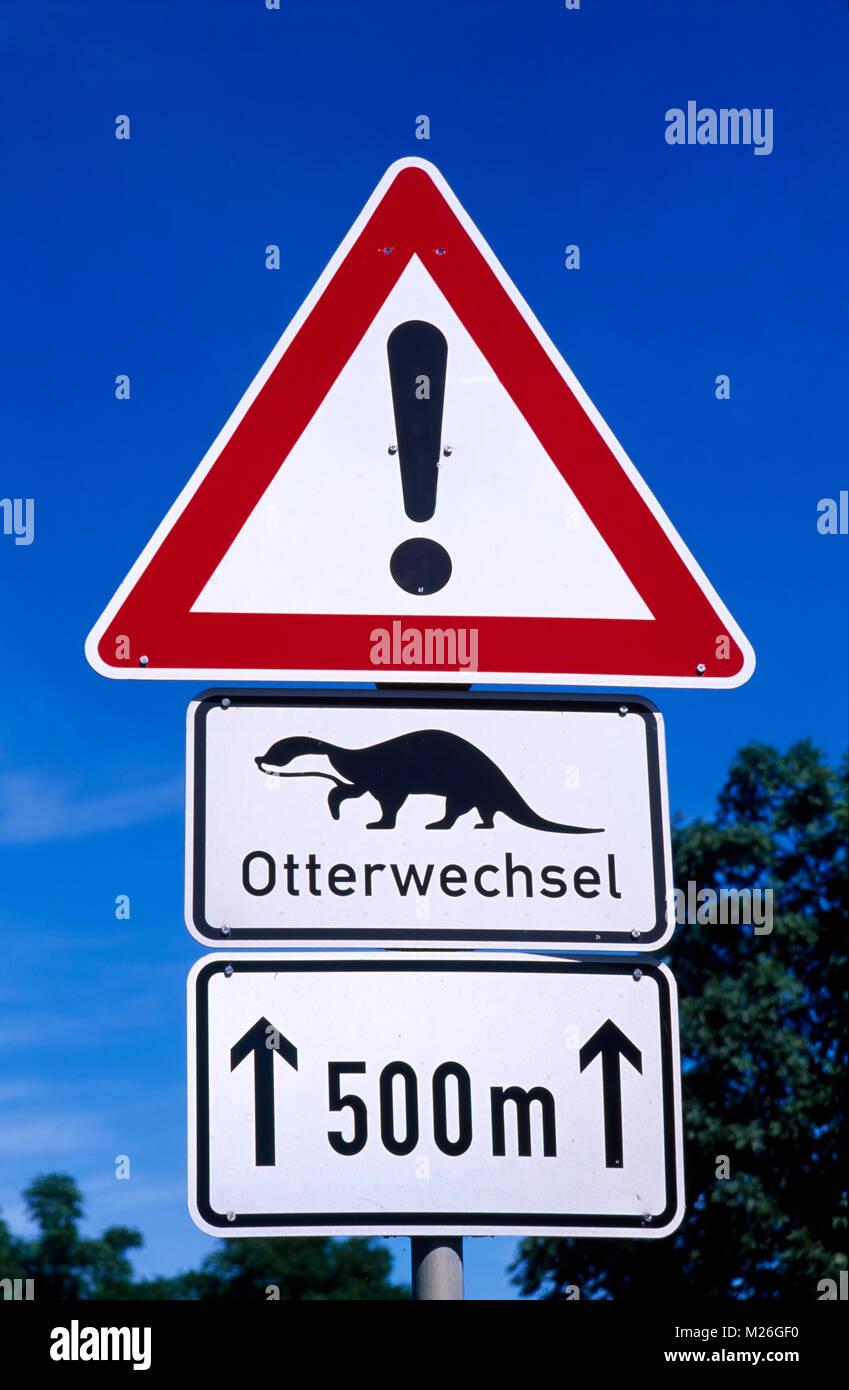 Otterwechsel sign in Pudagla,   Usedom island, Mecklenburg Western Pomerania, Germany - Stock Image
