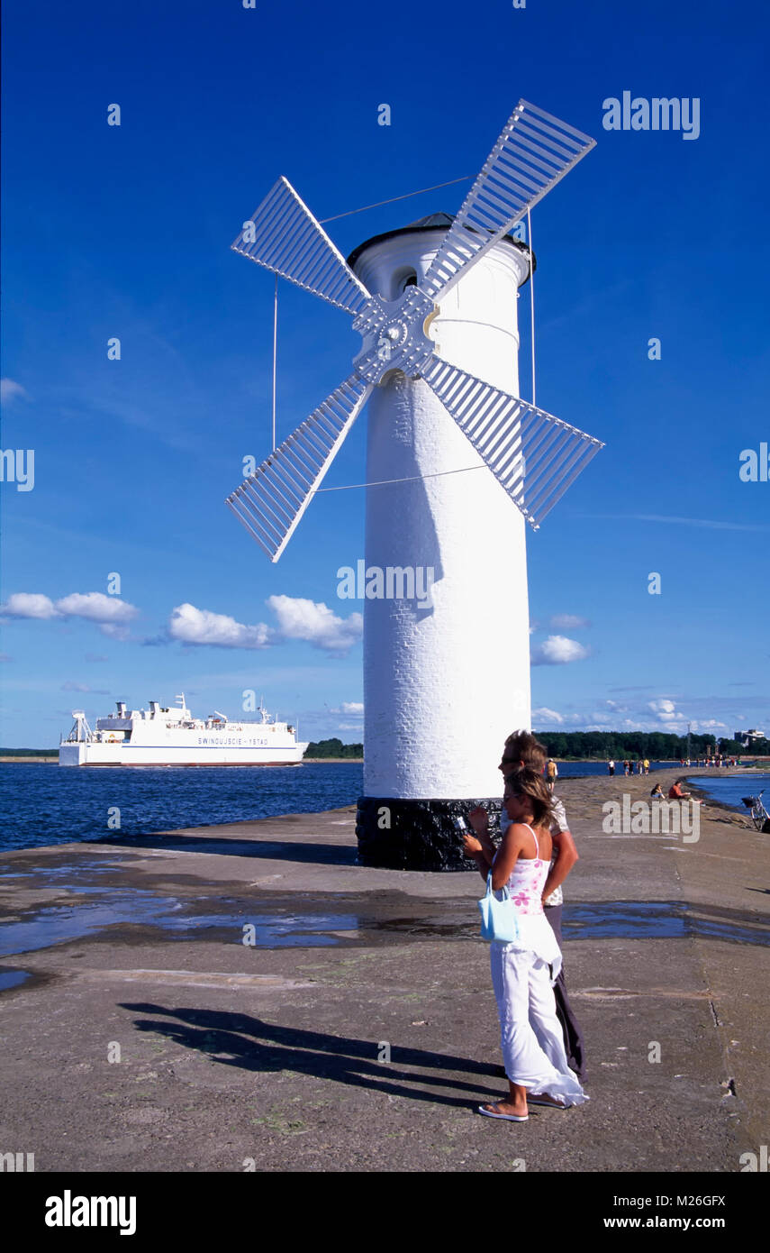 Swinemünde, Usedom, lighthouse on Westmole, Poland Stock Photo