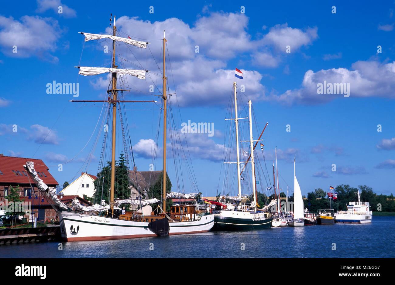 Wolgast, sailing ships in the harbor, Usedom island, Mecklenburg Western Pomerania, Germany - Stock Image