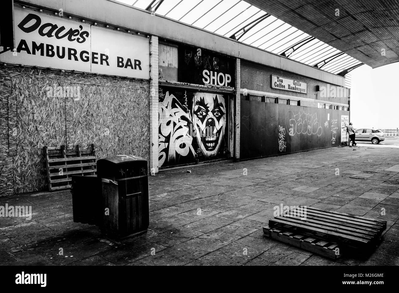 Black and white urban photography: derelict shopping arcade, Margate, Kent.UK - Stock Image