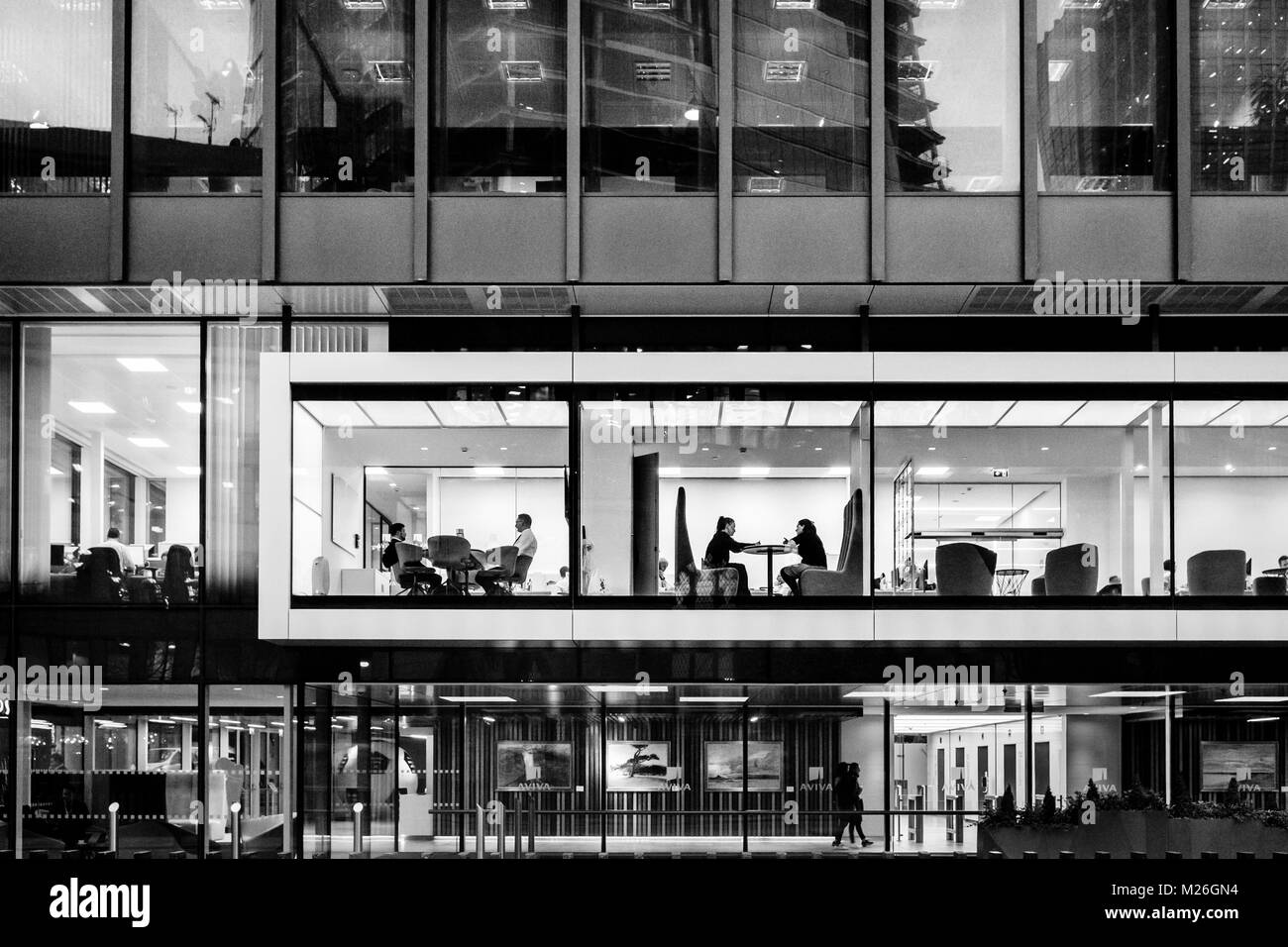 London black and white urban photography: office building in City of London. - Stock Image