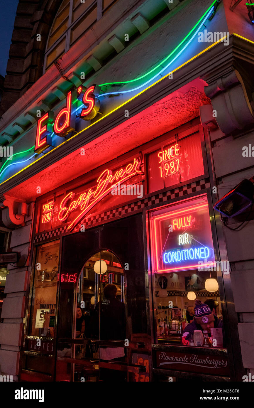 Ed's Easy Diner, Moor street, Soho, London - Stock Image
