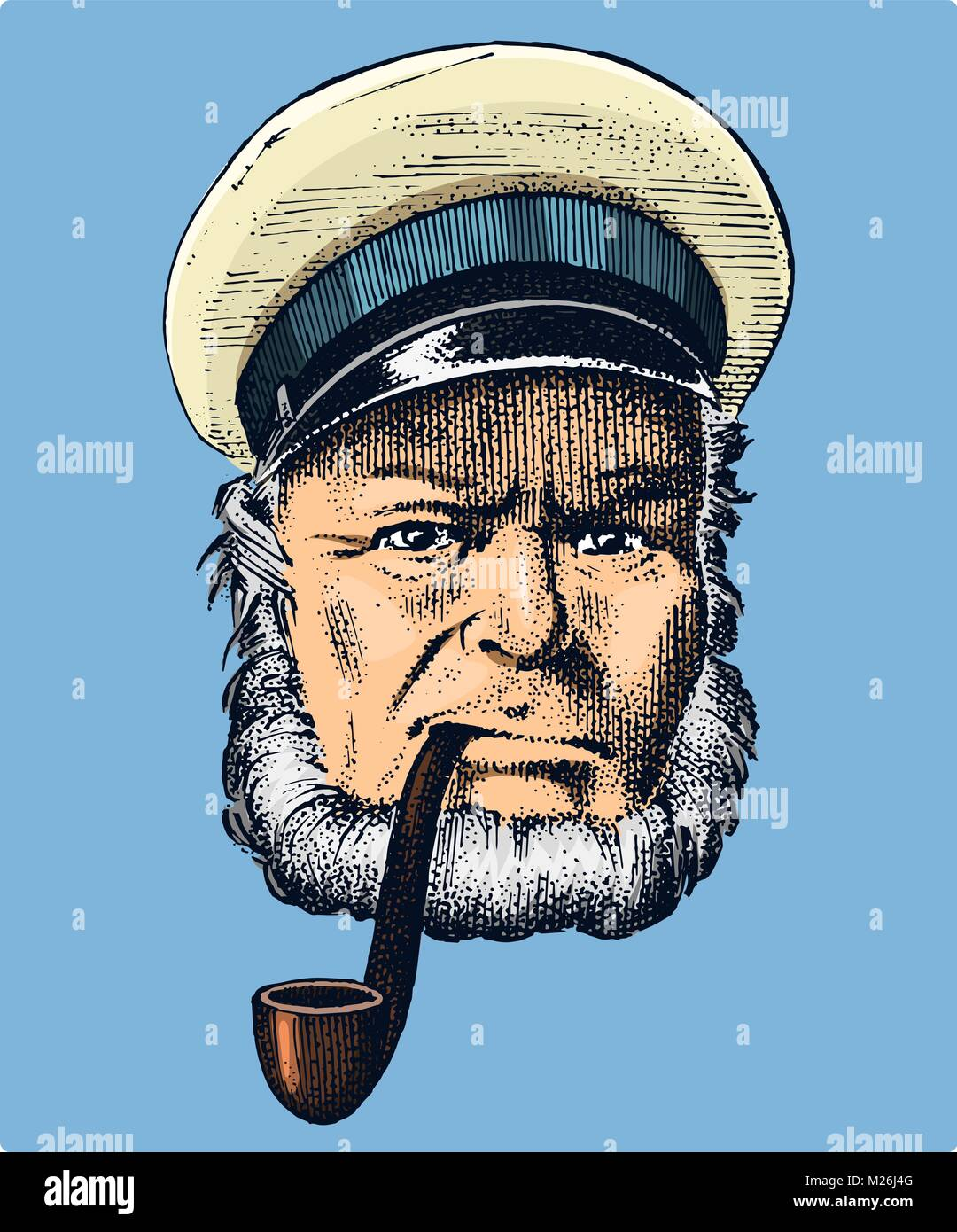 sea captain, marine old sailor with pipe or bluejacket, seaman with beard or men seafarer. travel by ship or boat. - Stock Image